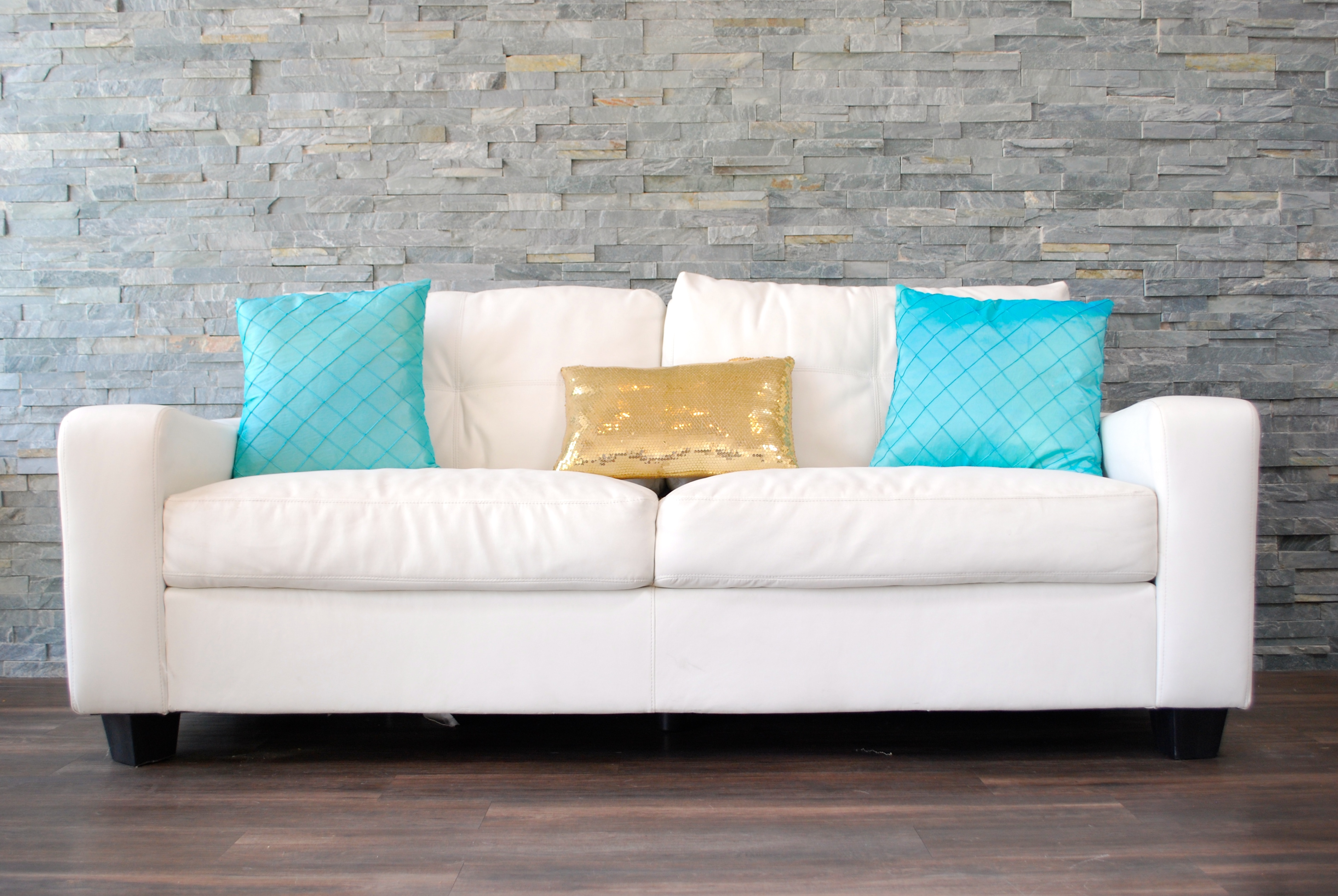 Throw Pillows For White Sofa : White Leather Plush Sofa (decorative pillows not included) Platinum Event Rentals