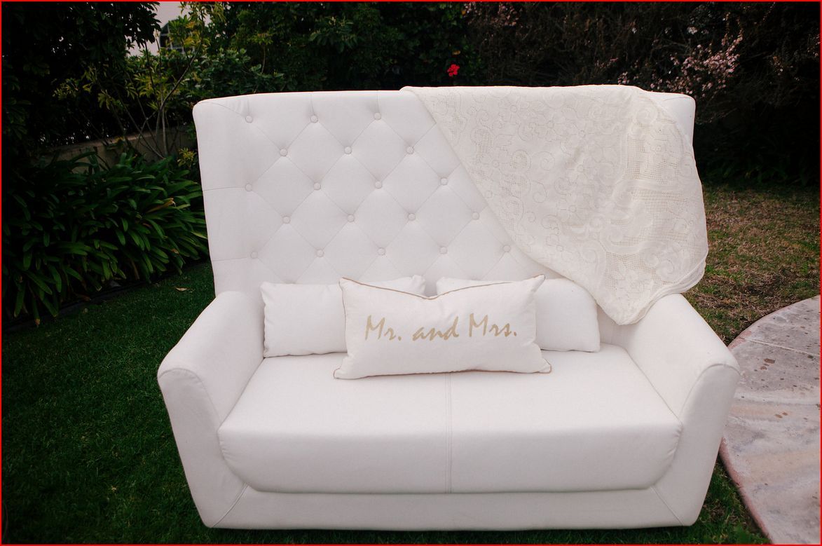 White Leather High Back Tufted Love Seat Does Not Include
