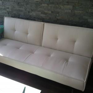 splitback white sofa