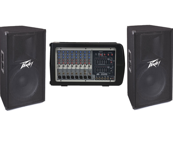 Peavey sound system. includes 6input amp two speakers and speaker stands