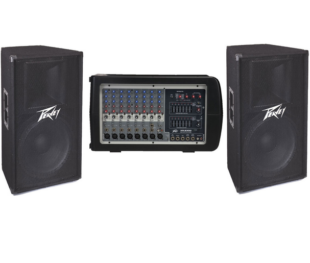 speakers and stands. peavey sound system. includes 6input amp two speakers and speaker stands