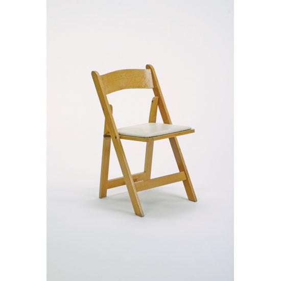 Natural wood folding chairPlatinum Event Rentals