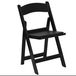 black resin folding chair with black pad