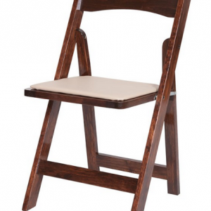 fruitwood folding chair with beige pad