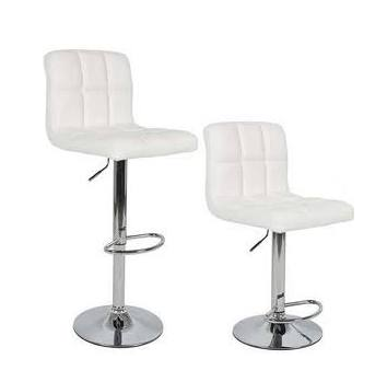 white leather and chrome barstools - adjustable
