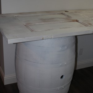 white rustic wine barrel