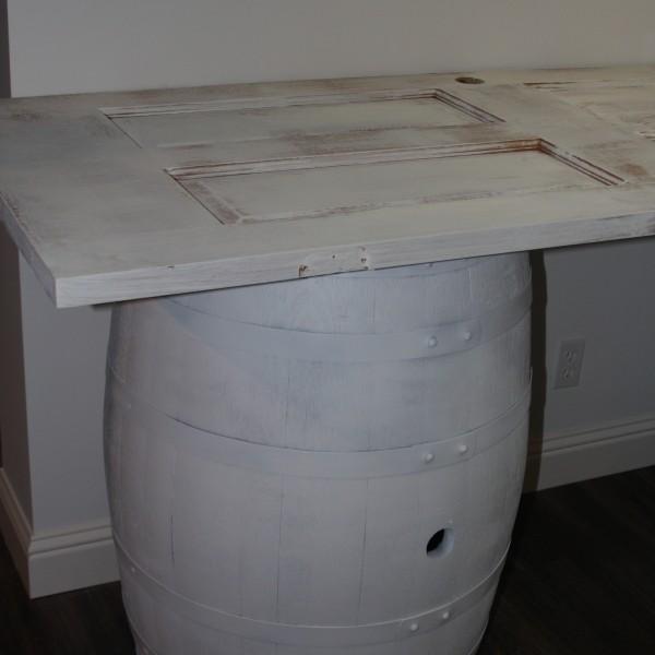 white rustic wine barrel