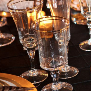 doble gold rimmed water glass