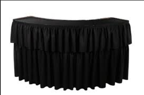 6foot serpentine bar includes black draping