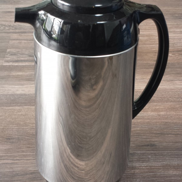 Chrome and black coffee urn