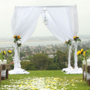Pipe and drape chuppah white chiffon