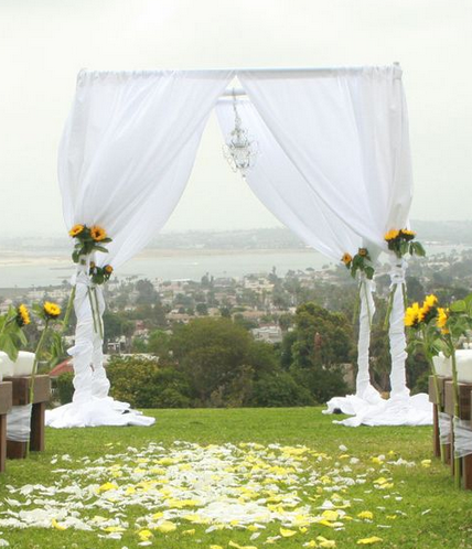 pipe and drape chuppah white chiffon curtains platinum event rentals