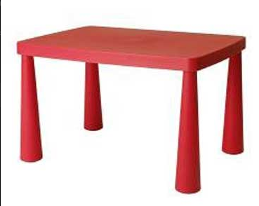 Kids Table Red Plastic ...