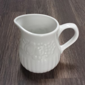 large white china creamer pourer 6oz with floral print