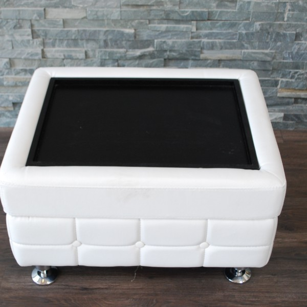 White Leather Tufted Coffee TableEnd Table Platinum Event Rentals