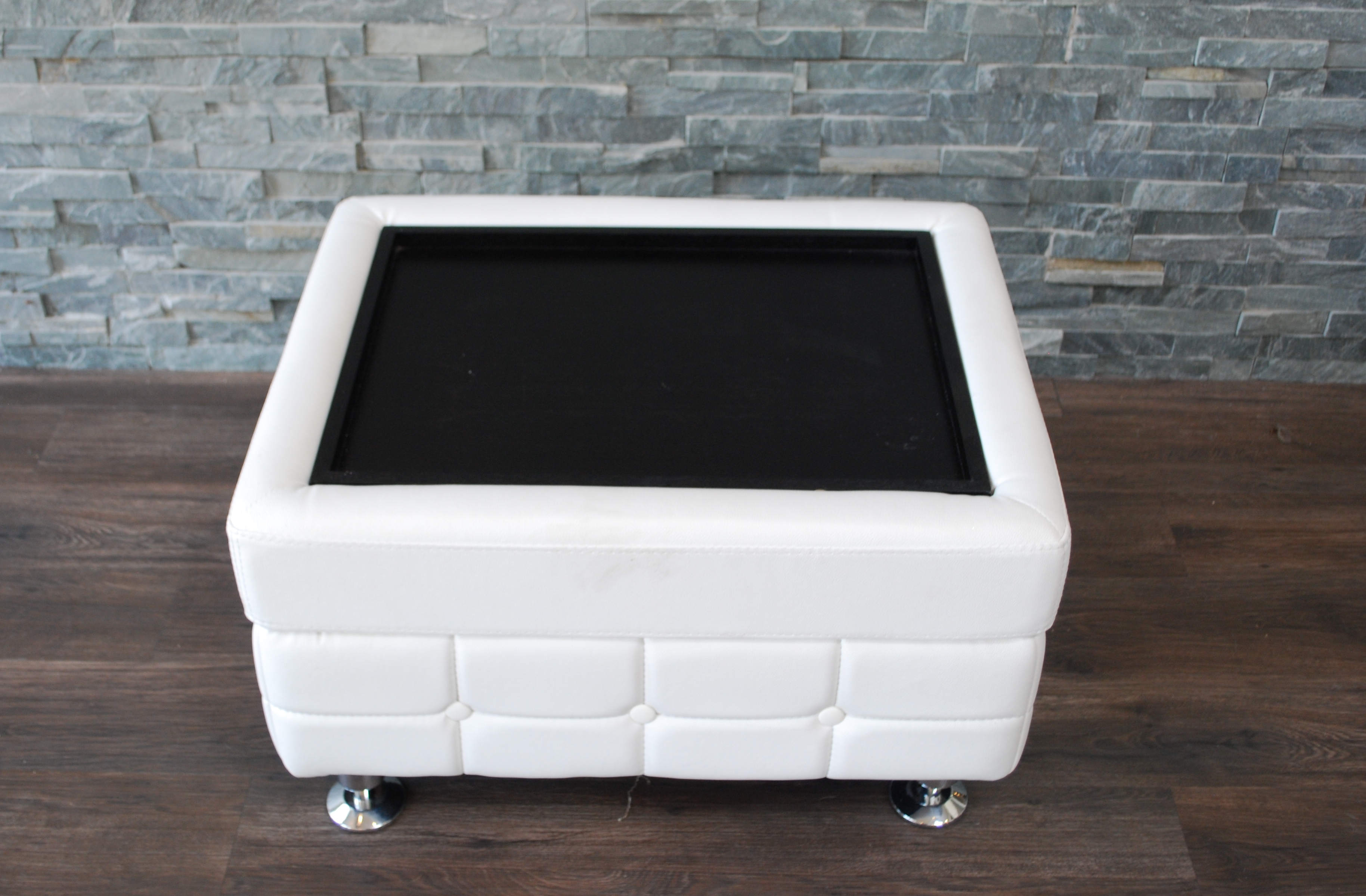 White Leather Tufted Coffee Table End Table