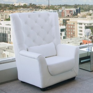 White Leather High Back Tufted Love Seat Platinum Event