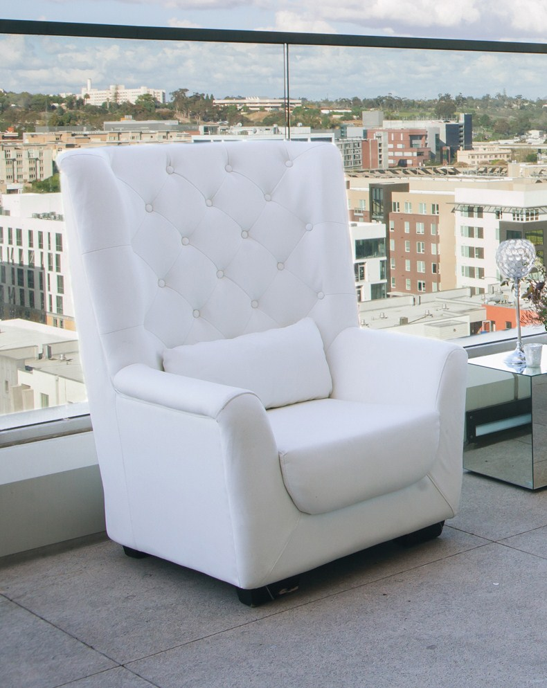 White High Back Tufted Chair Platinum Event Rentals