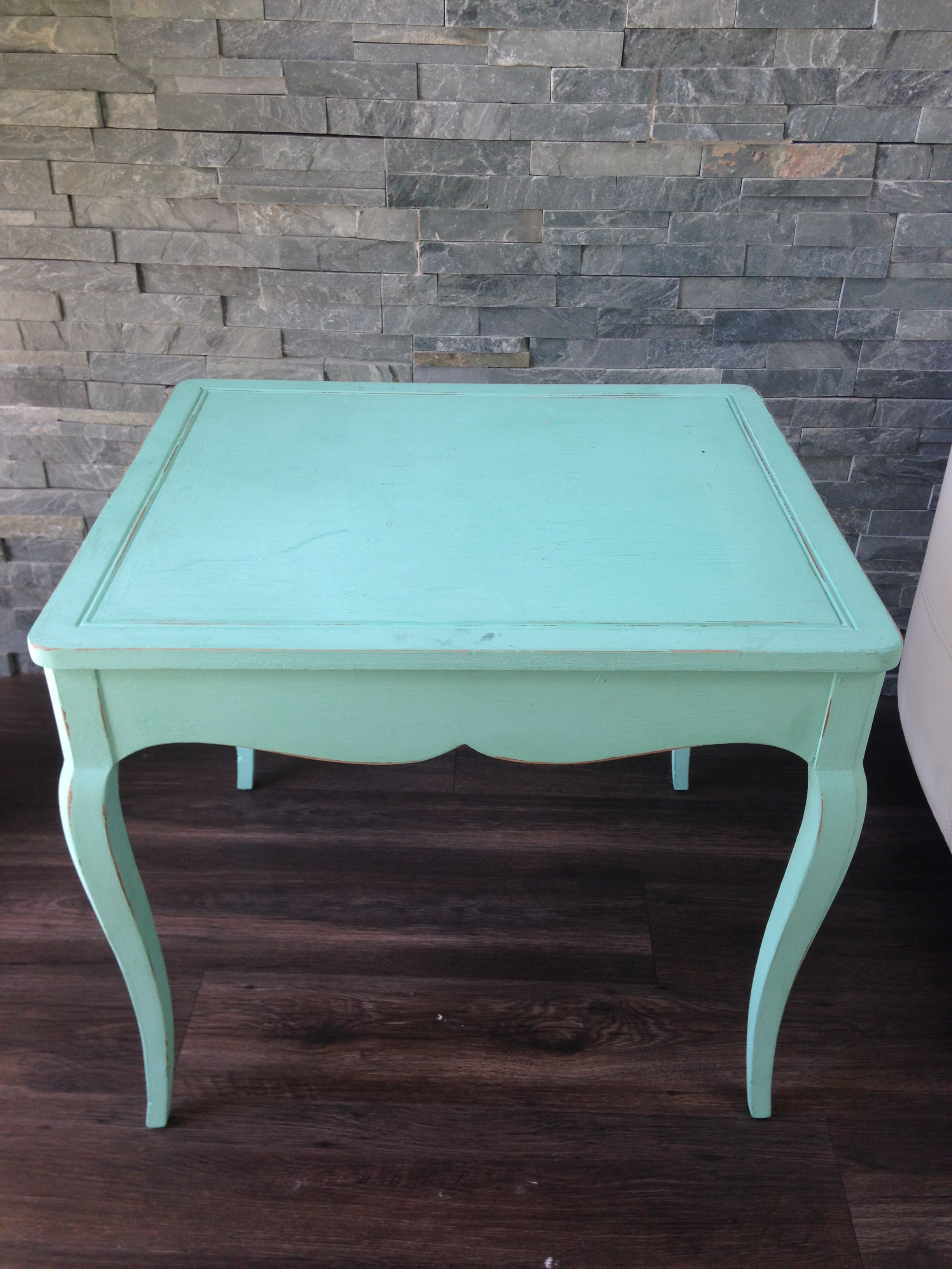 antique end table turquoise only platinum event rentals