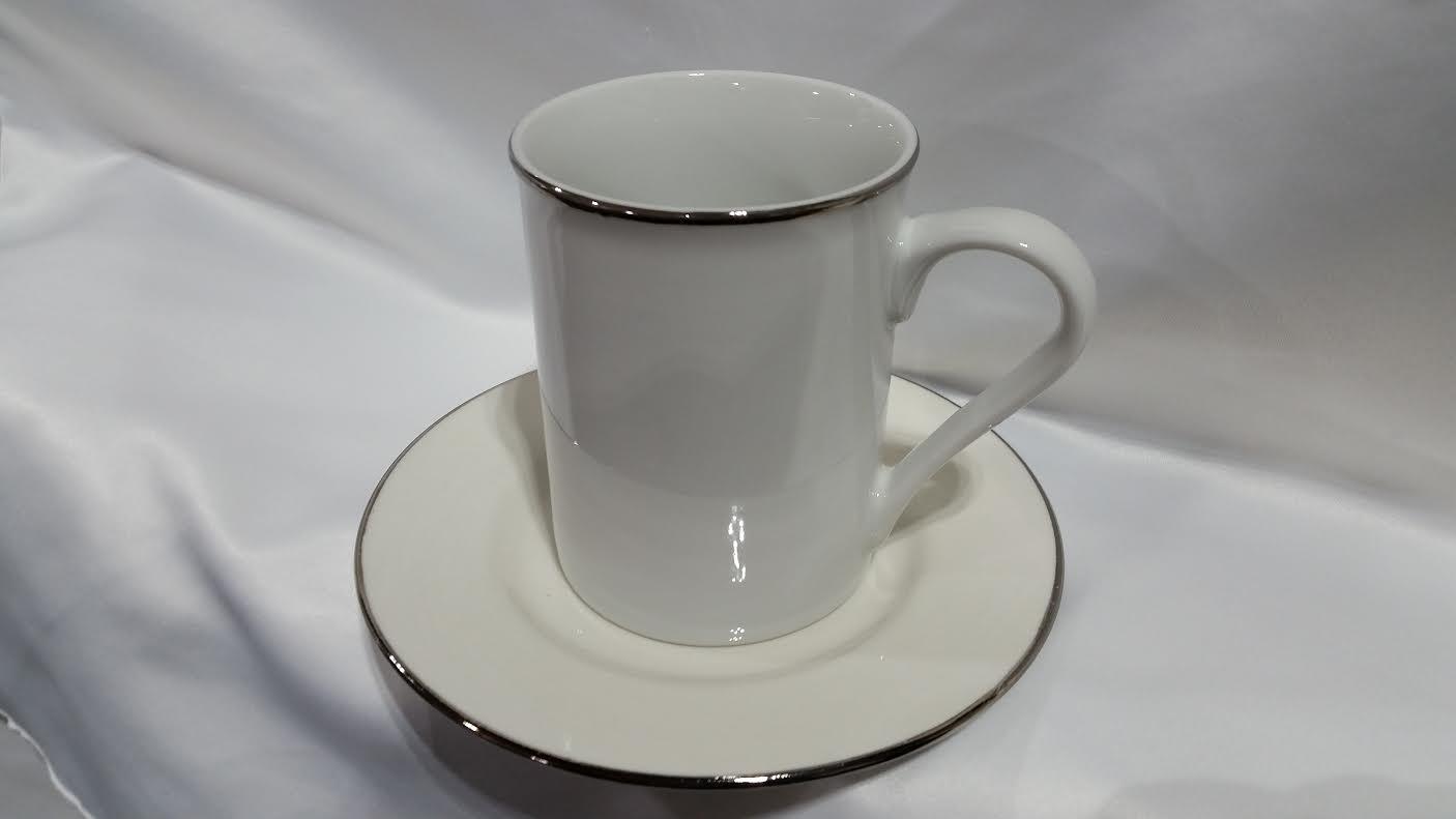 silver rimmed coffee cup and saucer platinum event rentals. Black Bedroom Furniture Sets. Home Design Ideas