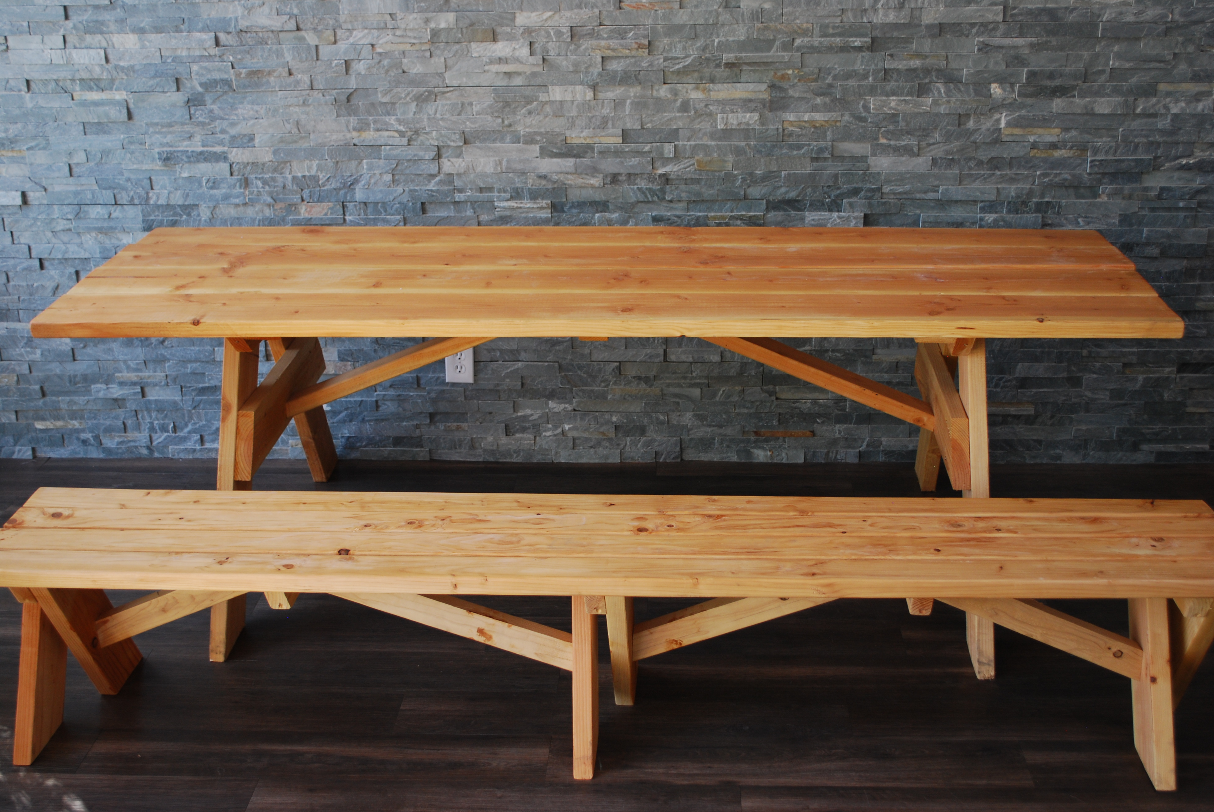 natural wood picnic table u0026 two benches - Wood Picnic Table