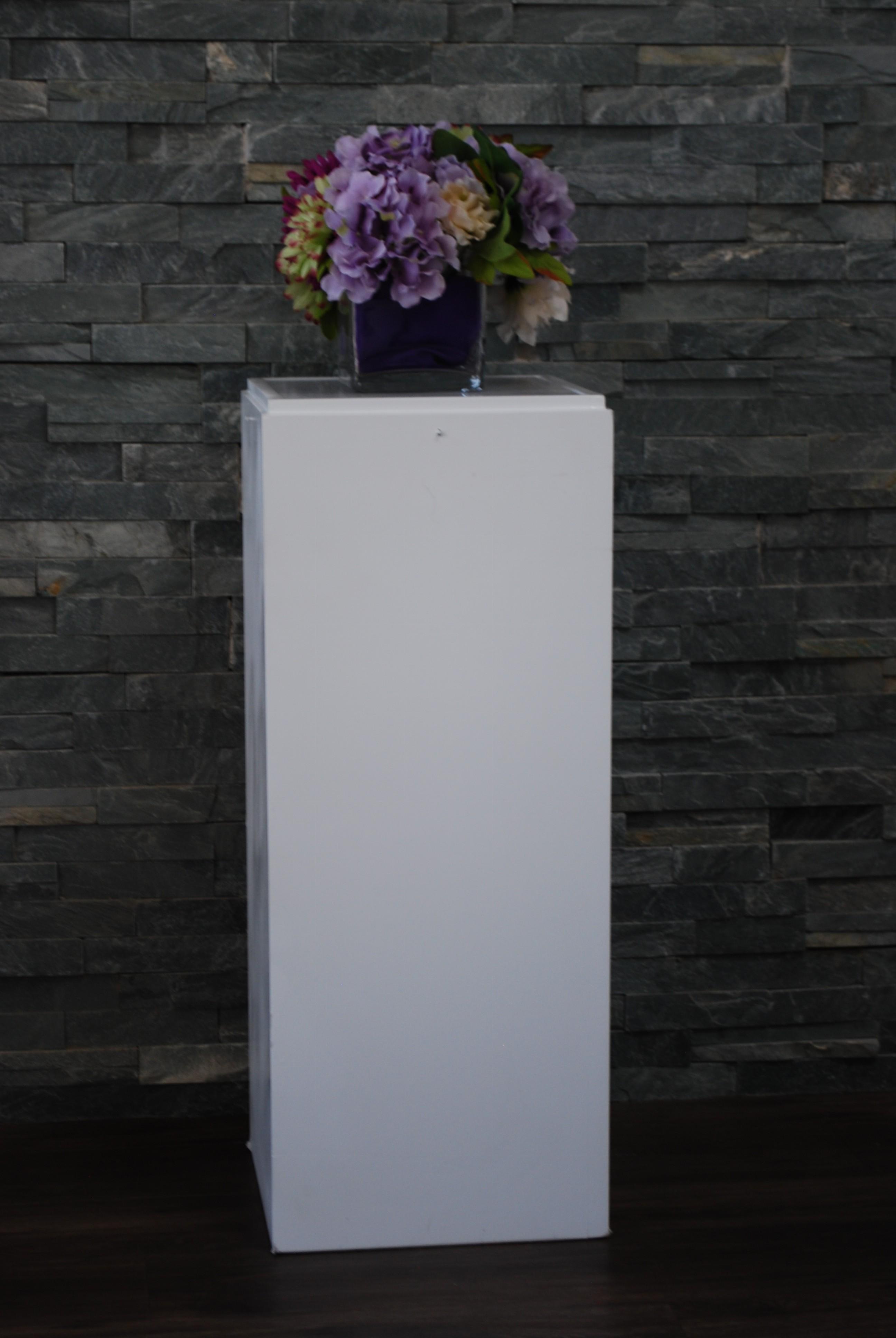 Square White Wood Column Platinum Event Rentals